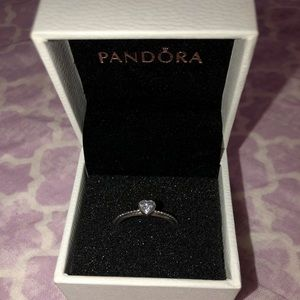 Pandora clear heart beaded ring silver
